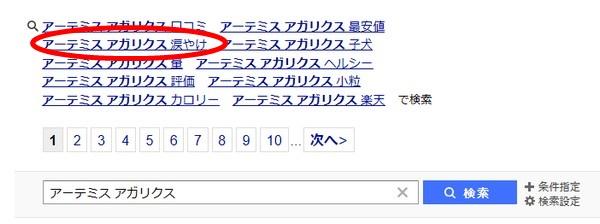 アーテミスアガリクスの検索画面