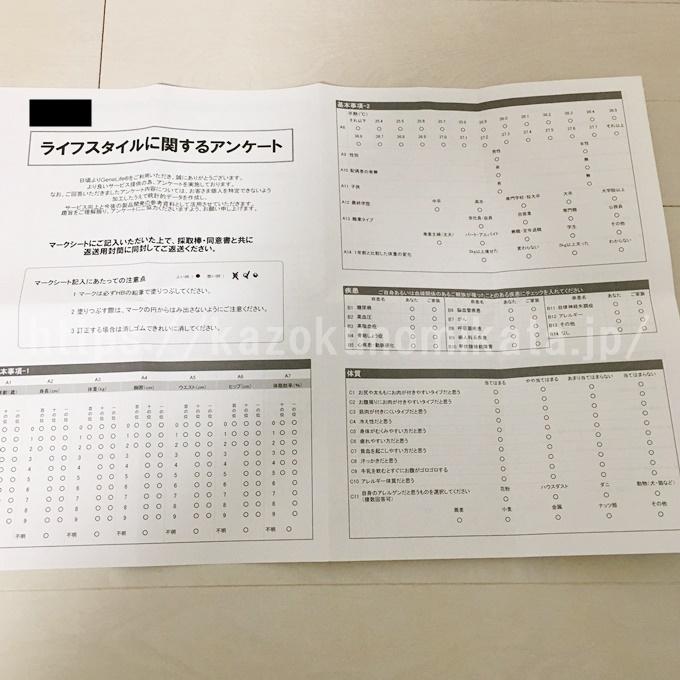 ジーンライフの肥満遺伝子検査キットのアンケート用紙